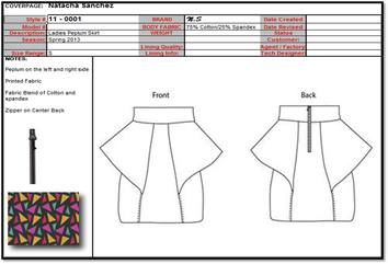 Technical Spec Sheets Fashion Textiles Design